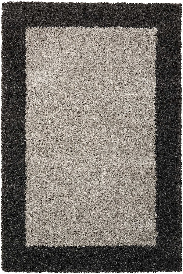 Silver, Charcoal Bordered Area Rug