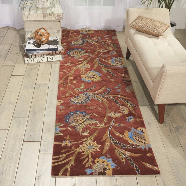 Rust Floral / Botanical Area Rug