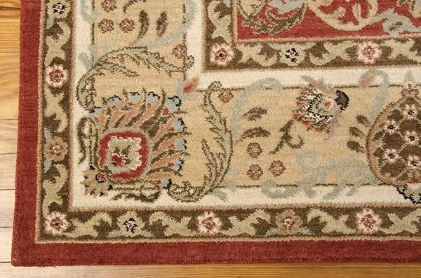 Brick, Ivory Traditional / Oriental Area Rug