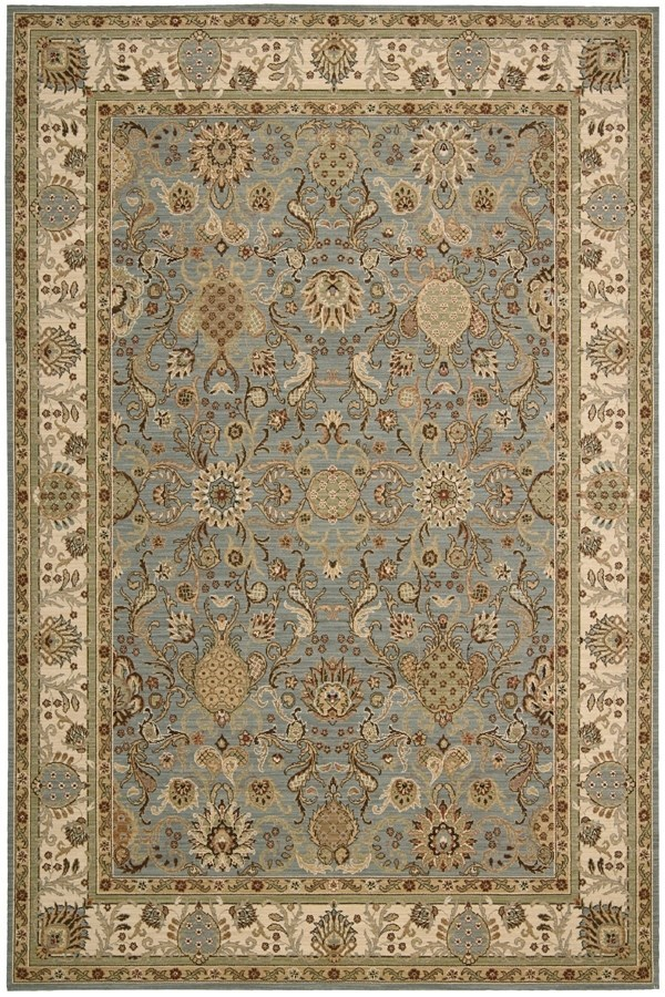 Slate Blue Traditional / Oriental Area Rug