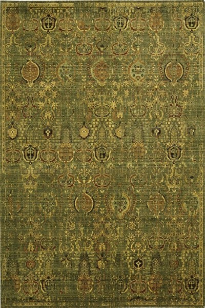 Green, Gold Traditional / Oriental Area Rug