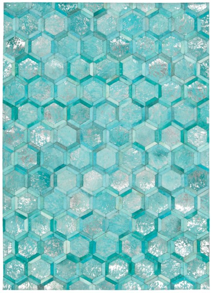 Turquoise Contemporary / Modern Area Rug