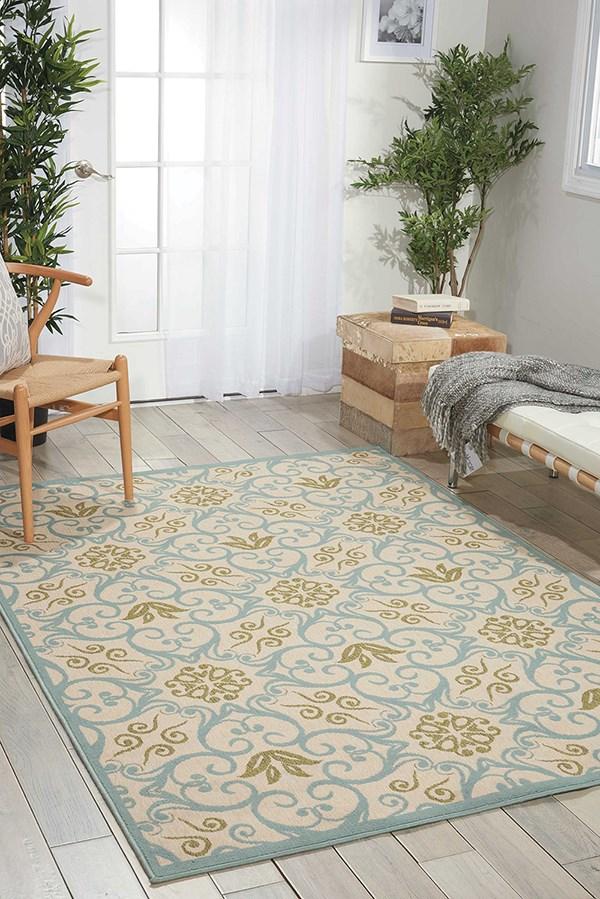 Ivory, Blue Outdoor / Indoor Area Rug