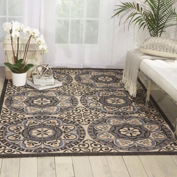 Ivory, Charcoal Outdoor / Indoor Area Rug