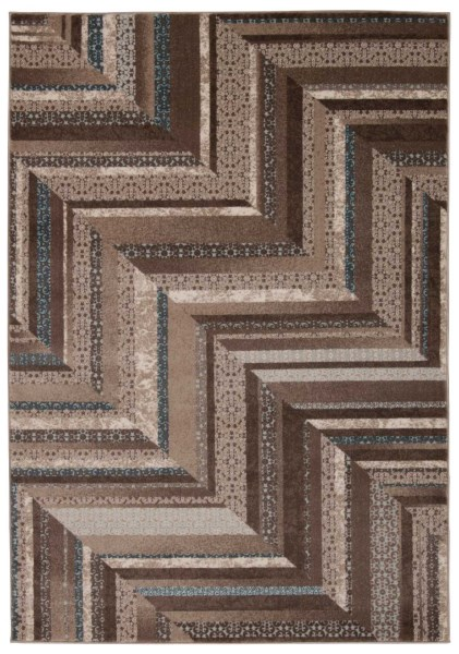 Mocha, Blue Contemporary / Modern Area Rug