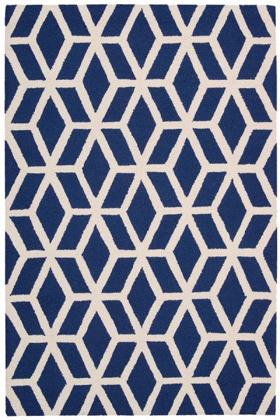 Blue, Ivory Geometric Area Rug