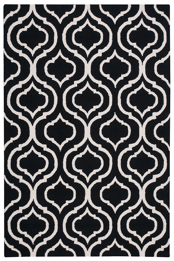Black, White Moroccan Area Rug