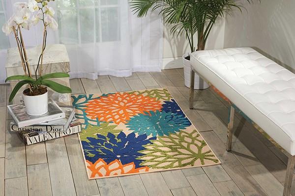 Tan, Sage, Orange, Blue Outdoor / Indoor Area Rug