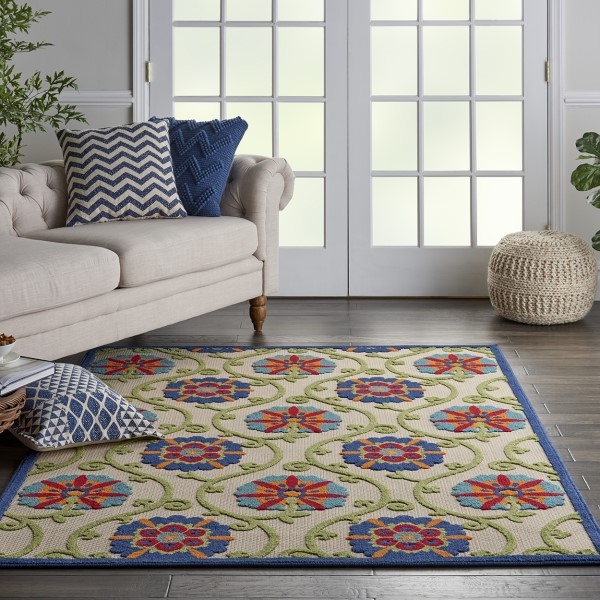 Beige, Blue, Red Outdoor / Indoor Area Rug