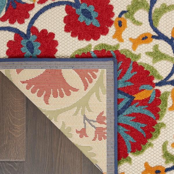 Beige, Red, Blue Outdoor / Indoor Area Rug