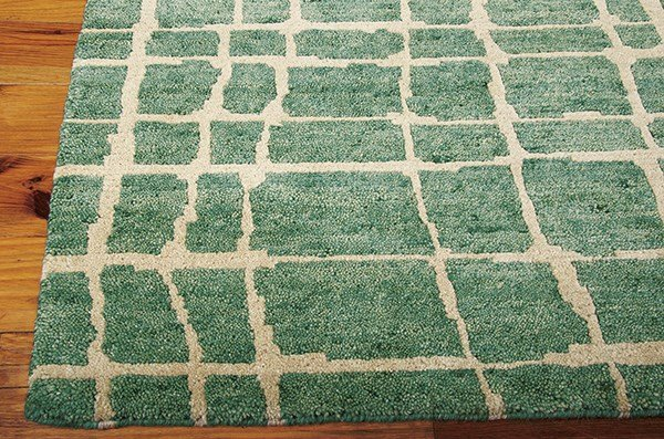 Turquoise, Green Contemporary / Modern Area Rug