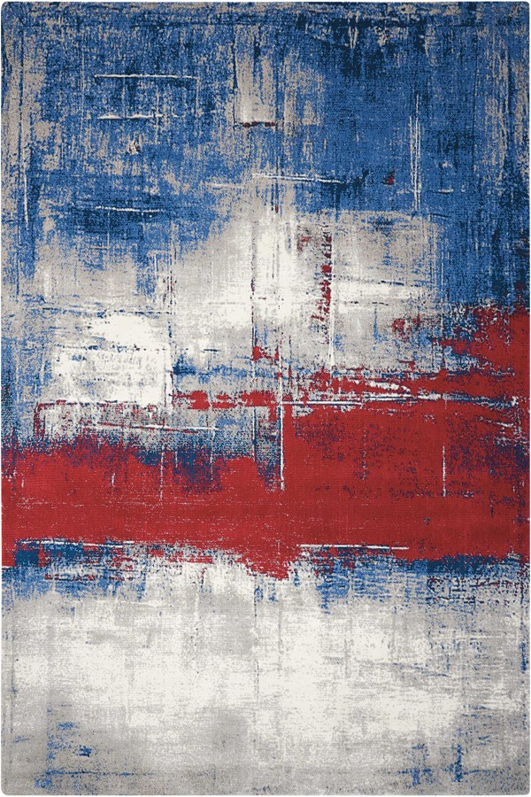 Grey, Ivory, Red, Blue, Black Contemporary / Modern Area Rug