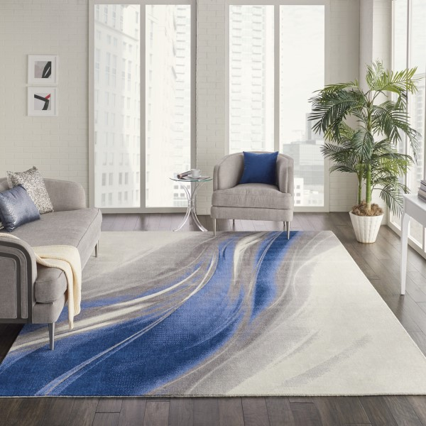 Ivory, Grey, Blue Contemporary / Modern Area Rug