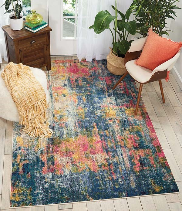 Blue, Yellow Abstract Area Rug