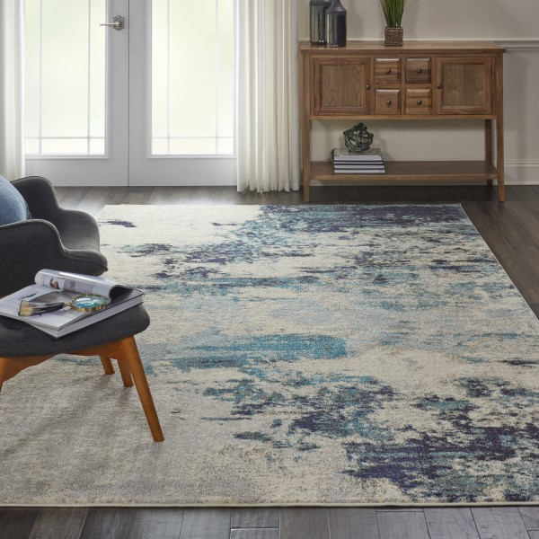 Ivory, Teal Abstract Area Rug