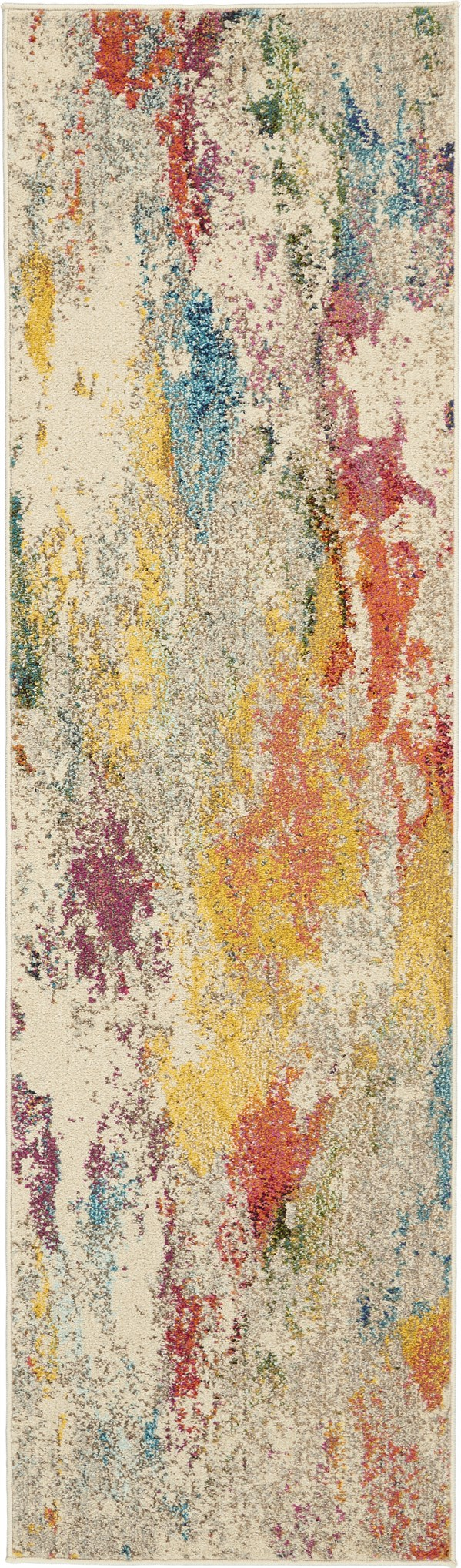 Ivory, Yellow, Orange Contemporary / Modern Area Rug