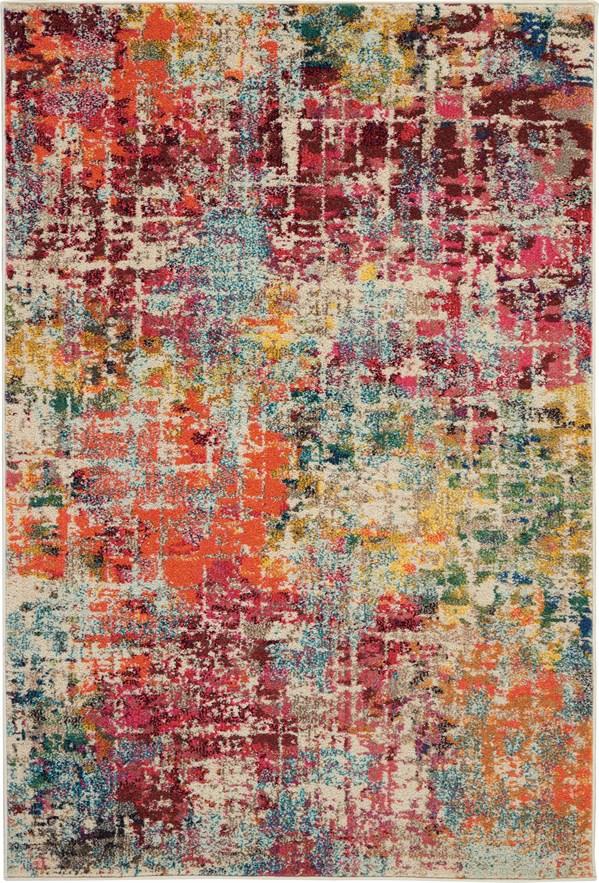 Red, Orange, Cream Contemporary / Modern Area Rug