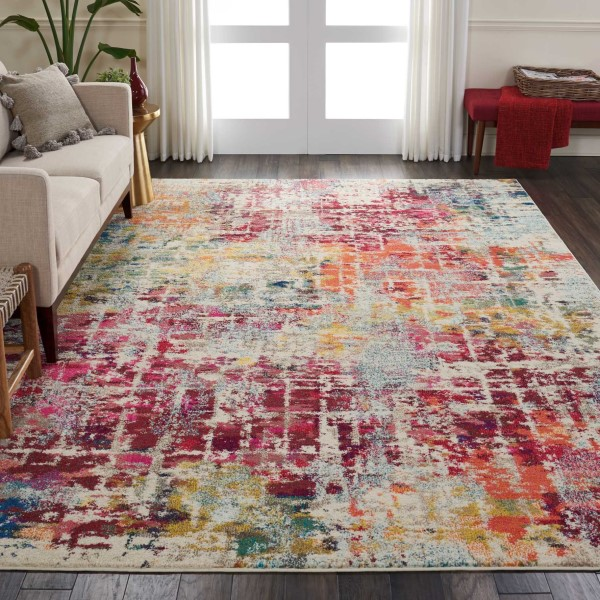 Red, Orange, Cream Contemporary / Modern Area Rug