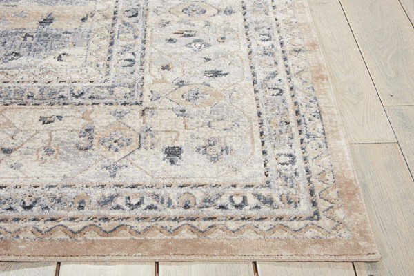 Beige, Blue Traditional / Oriental Area Rug