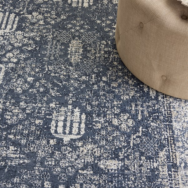 Navy, Ivory Vintage / Overdyed Area Rug