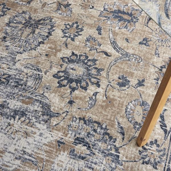 Blue, Ivory Vintage / Overdyed Area Rug