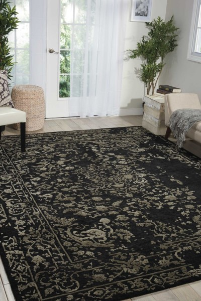 Midnight Silver Traditional / Oriental Area Rug