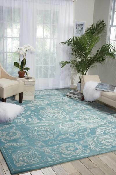 Aqua Traditional / Oriental Area Rug