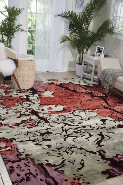 Brick Red, Light Gray, Lavender, Lilac Contemporary / Modern Area Rug
