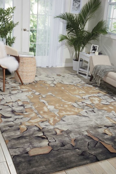 Beige, Silver Contemporary / Modern Area Rug