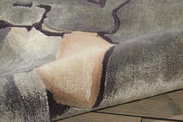 Beige, Silver Contemporary / Modern Area Rug