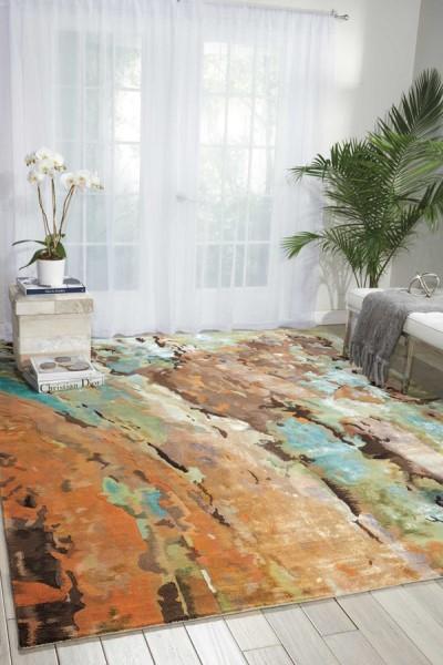Aqua, Brown, Beige, Tan, Sage Contemporary / Modern Area Rug