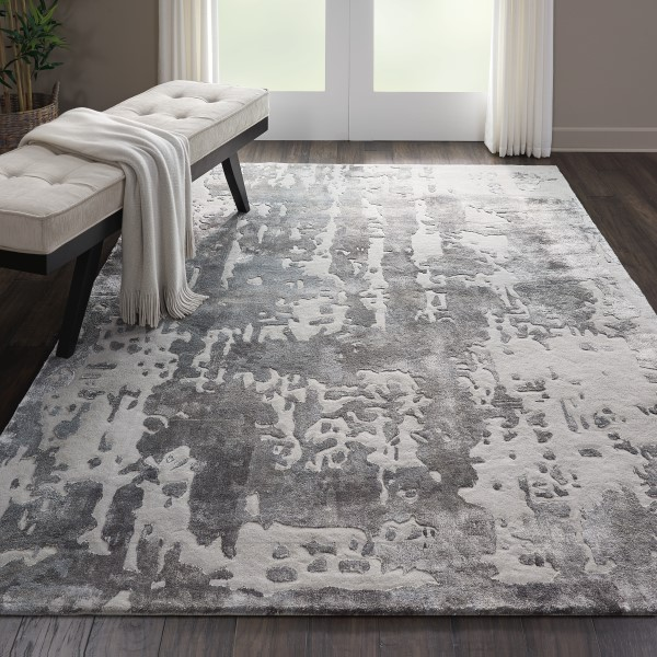 Silver, Grey Contemporary / Modern Area Rug