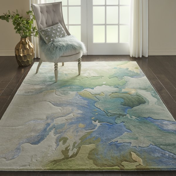 Seafoam Contemporary / Modern Area Rug
