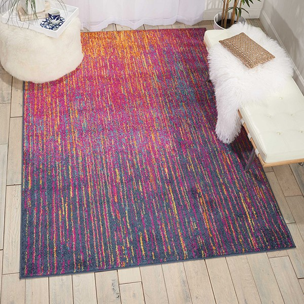 Purple, Blue, Orange Contemporary / Modern Area Rug