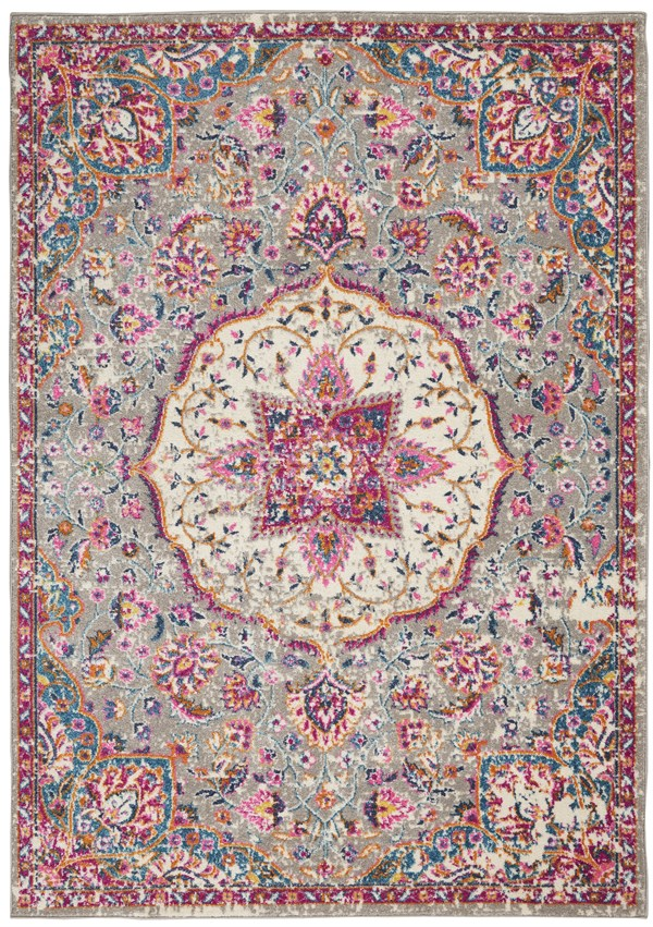 Grey, Pink, Blue Bohemian Area Rug
