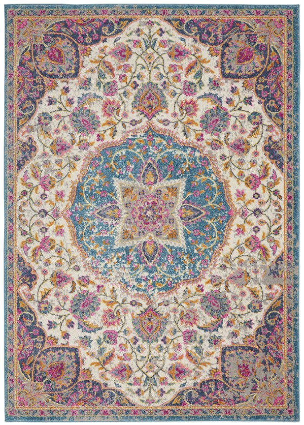 Ivory, Blue, Pink Bohemian Area Rug