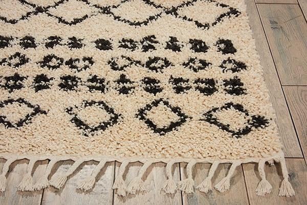 Cream, Black Moroccan Area Rug