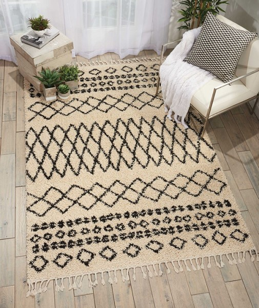 Cream, Black Moroccan Area Rug