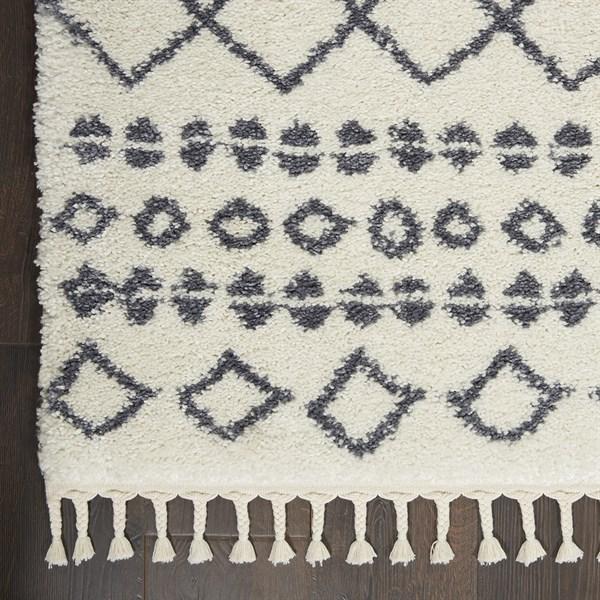 Cream, Charcoal Moroccan Area Rug
