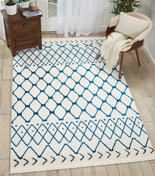 White, Blue Moroccan Area Rug