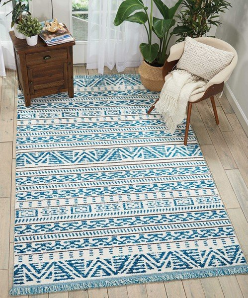 Ivory, Blue Moroccan Area Rug