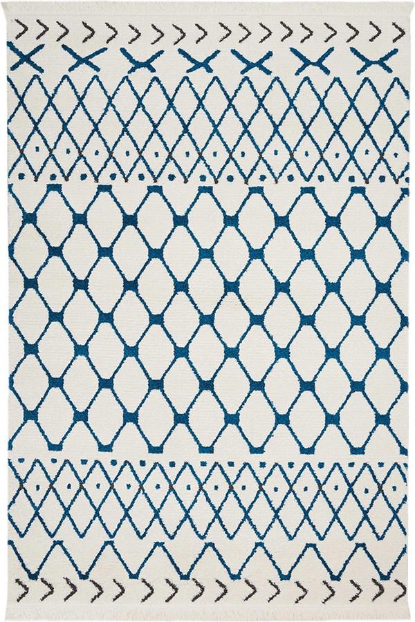 White, Blue Southwestern / Lodge Area Rug