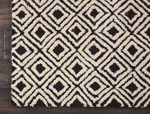 Black, Beige Contemporary / Modern Area Rug