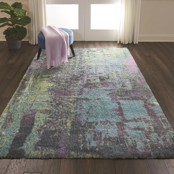 Teal Abstract Area Rug