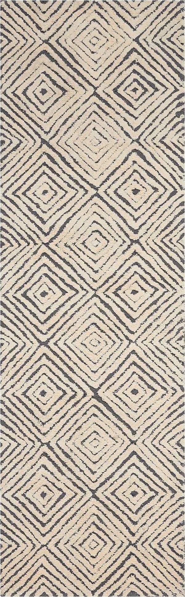 Grey, Ivory Geometric Area Rug