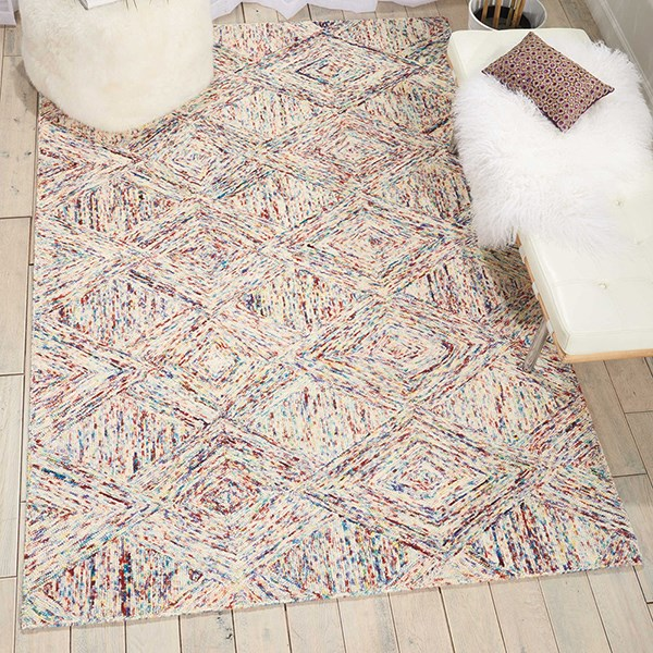 Ivory, Red Geometric Area Rug