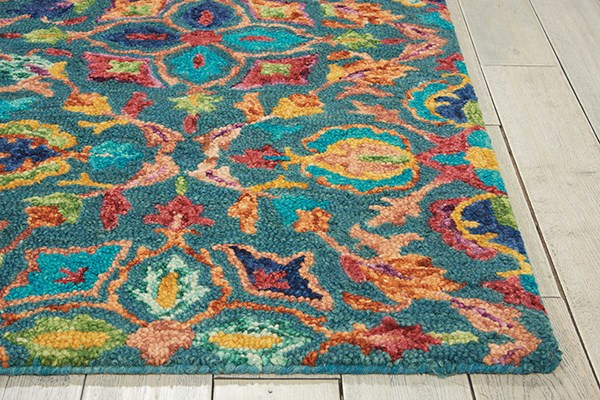 Teal Traditional / Oriental Area Rug