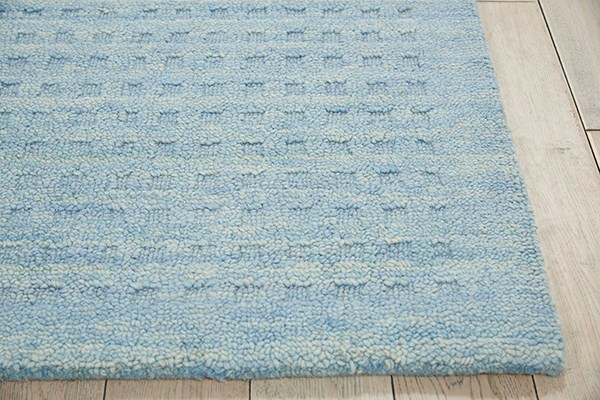 Sky Blue Textured Solid Area Rug