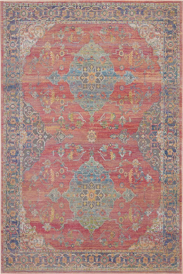 Light Red, Light Blue Traditional / Oriental Area Rug