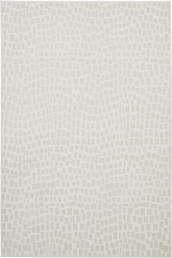 Cream, White Contemporary / Modern Area Rug